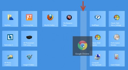 organize windows 8 tiles in groups - start a new group